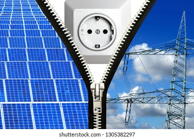 Wall socket and solar energy concept