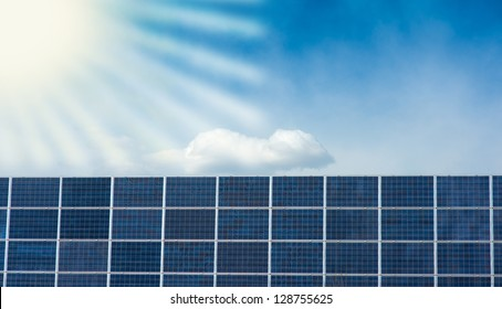 wall of solar panels