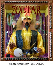 WALL, SOUTH DAKOTA - OCTOBER 28: Zoltar fortune telling machine inside Wall Drug Store on Main Street on October 28, 2015 in Wall, South Dakota
