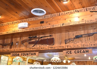 Wall, South Dakota. U.S.A. Sept. 16, 2018.  Hustead's drug store Wall, South Dakota, began in 1931 with free ice water.  Wall Drugs offers visitors gifts shop, cafeteria, fresh donuts, museum, & lore