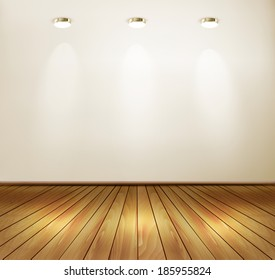 Wall with spotlights and wooden floor. Showroom concept.  Raster version.