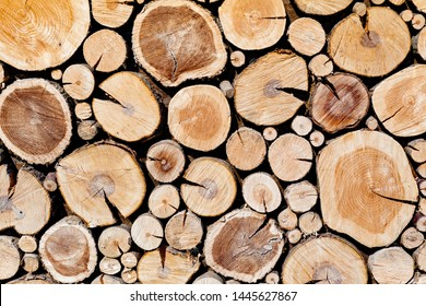 Wall of stacked wood logs as background. Pile of wood logs ready for winter. Round wooden stumps, texture background. Firewood stacked and prepared for winter. Woodpile. forestry industry