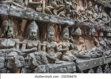 wall statue of God inside the Angkor Wat Temple at Siem Reap, Cambodia