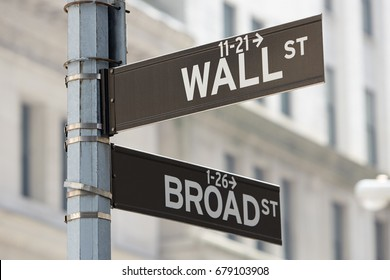 Wall Street and Broad Street corner sign near Stock Exchange, financial district in New York in a sunny day