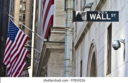 The Wall Street in Manhattan, New York.
