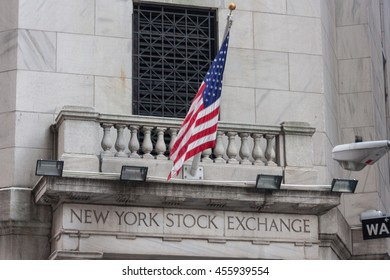 Wall street  New York Stock Exchange with American flag