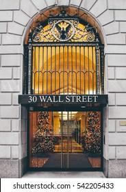 Wall Street NYC, USA, The stock exchange entrance shooted during a city tour in December 2008