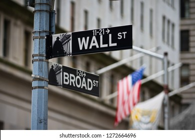 Wall street sign with American flag in the Financial District of Lower Manhattan