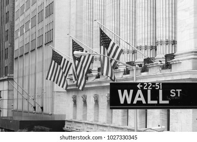 Wall Street Sign in Wall Street, Black and white photo, Manhattan, NYC, USA.