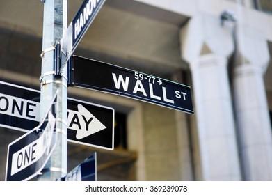Wall Street sign in lower Manhattan, New York, USA