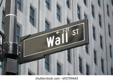 wall street sign in Manhattan New York city