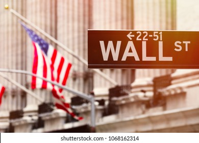 Wall street sign with the New York Stock Exchange on the background at sunset