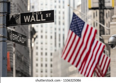 Wall street sign in New York City with American flags and New York Stock Exchange in background.