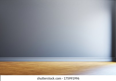 Wall with sun light and wood floor