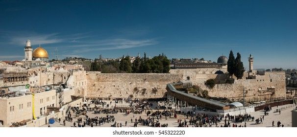 Wall of Tears. Panoramic view onto Western Wall of Jerusalem Temple and the dome of mosque Al Aqsa. The center of world's spiritual culture and the root of all modern cultural and political conflicts