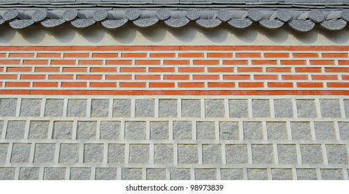 Wall of temple texture roof background abstract