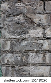 wall of their white brick with cracks