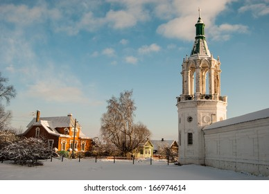 Wall and tower Spaso Yakovlevsky Monastery in Rostov Veliky. Golden Ring of Russia