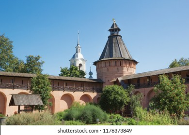 Wall and tower Spaso-Euthymius monastery in Suzdal. Russia, 2018 year