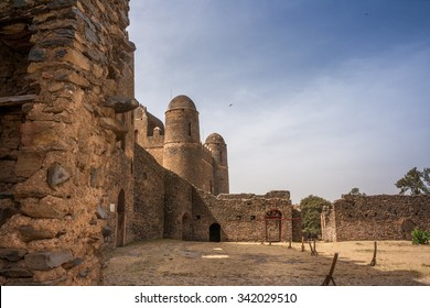Wall and towers of Gondar Castle in Ethiopia.