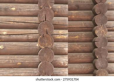 Wall of traditional hardwood timber house.