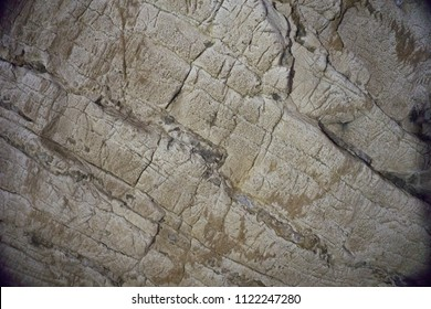 the wall of the underground cave, the texture of the stone
