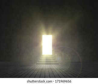 wall and walkway with stairs, passage of light shine