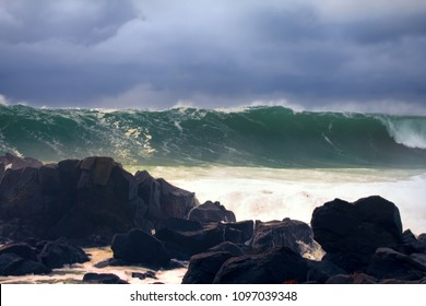 Wall of water like tsunami - turbulent waves of Pacific ocean more than 8 meters (heavy) and rugged beauty of basalt rocks
