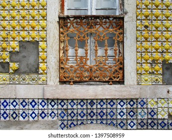 Wall and window of façade in city of Lisbon. Portugal