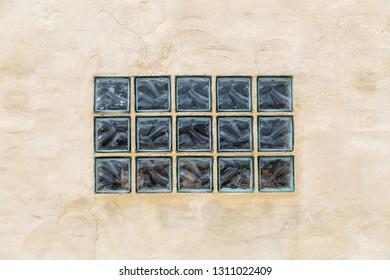 Wall with window of glass blocks.