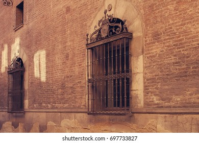 A wall with windows. Spanish College in Bologna. Italy