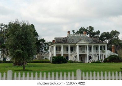 WALLACE, LOUISIANA—JANUARY 2017: View of the Evergreen Plantation house on Lousiana Highway 18 seen from the road. The movie Django Unchained was filmed at this house.