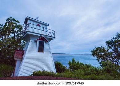 Wallace Harbour Front Range Lighthouse in Nova Scotia. Nova Scotia, Canada.