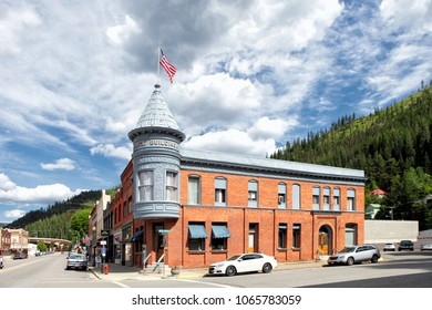 Wallace Idaho, USA  June 11, 2014 The Rossi Building in downtown Wallace Idaho with its victorian architectural style.