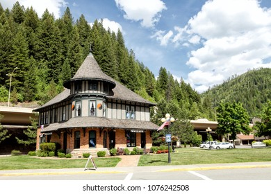 Wallace Idaho, USA June 11, 2014 The Northern Pacific Railroad Depot built in 1902 in Wallace Idaho, now serves as the Wallace visitors center, and Chamber of Commerce building.