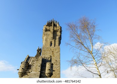 The Wallace Monument (The National Wallace Monument) on the summit of Abbey Craig, a hilltop near Stirling in Scotland. It commemorates Sir William Wallace, a 13th-century Scottish hero.