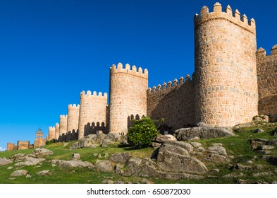 walled city of avila, afternoon light on the turrets and walls
