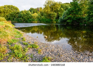 Wallendorf (Eifel), Rhineland-Palatinate, Germany - August 20, 2019: The river Our flows into the river Sauer