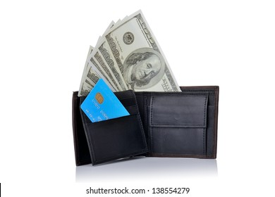 wallet with 100 dollar bills and a credit card stood up isolated on white