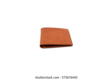 wallet brown synthetic leather isolated on white background