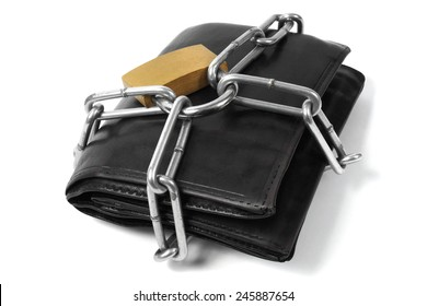 Wallet in chains and padlock on white background