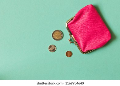 Wallet with coins on a light background . The concept of saving money.