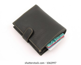 Wallet with credit card inside, isolated white