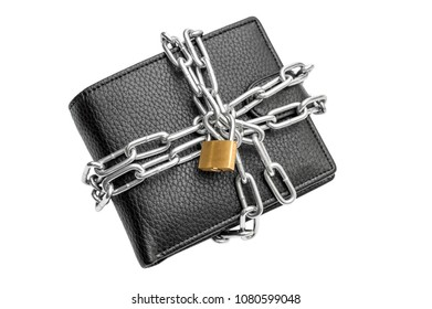 Wallet crossed by metal chain with padlock on white background. Protection money concept. Top view.