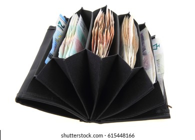 wallet with czech money isolated on the white background