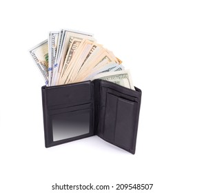 wallet with dollar bills. Isolated on a white background.