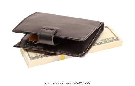 Wallet with dollars and a bank card