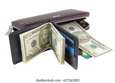 Wallet with dollars and card is photographed close-up