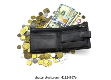 Wallet with dollars and coins