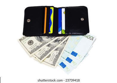 wallet with dollars and euros